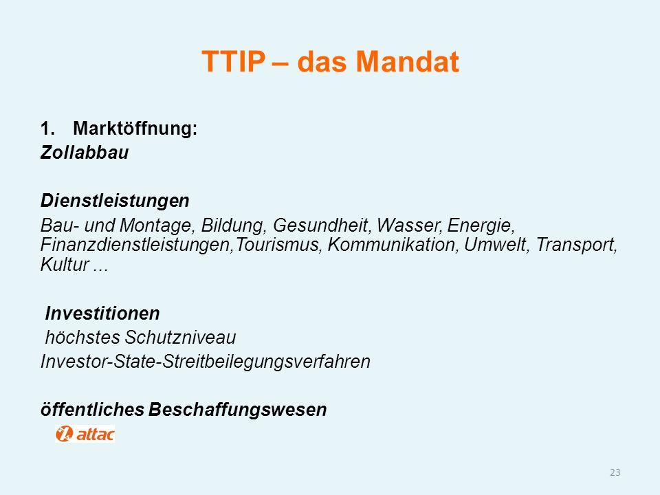 TTIP – das Mandat Marktöffnung: Zollabbau Dienstleistungen