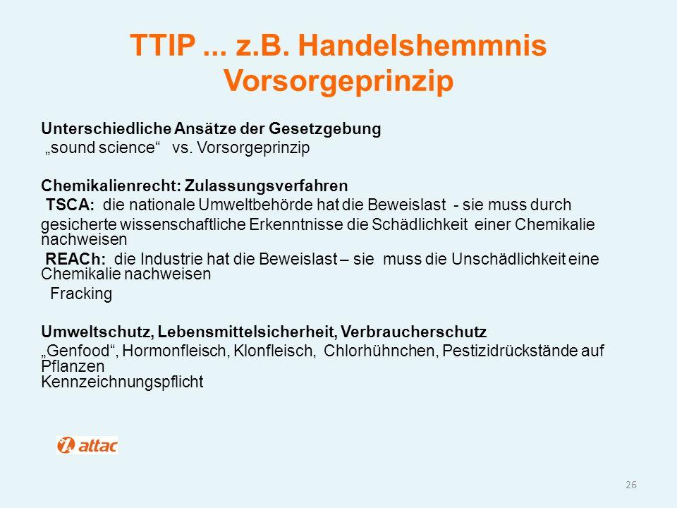 TTIP ... z.B. Handelshemmnis Vorsorgeprinzip