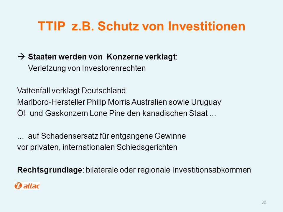 TTIP z.B. Schutz von Investitionen