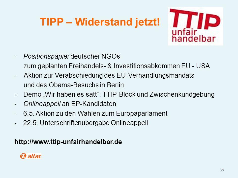 TIPP – Widerstand jetzt!