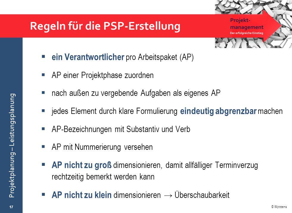 Regeln für die PSP-Erstellung