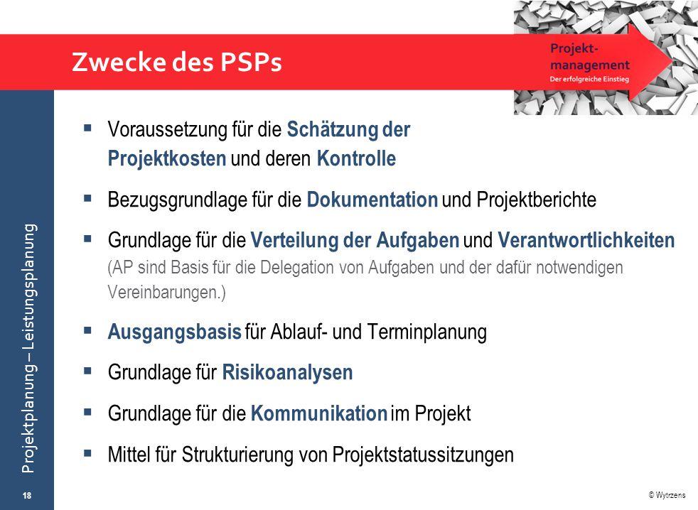 Zwecke des PSPs Voraussetzung für die Schätzung der Projektkosten und deren Kontrolle. Bezugsgrundlage für die Dokumentation und Projektberichte.