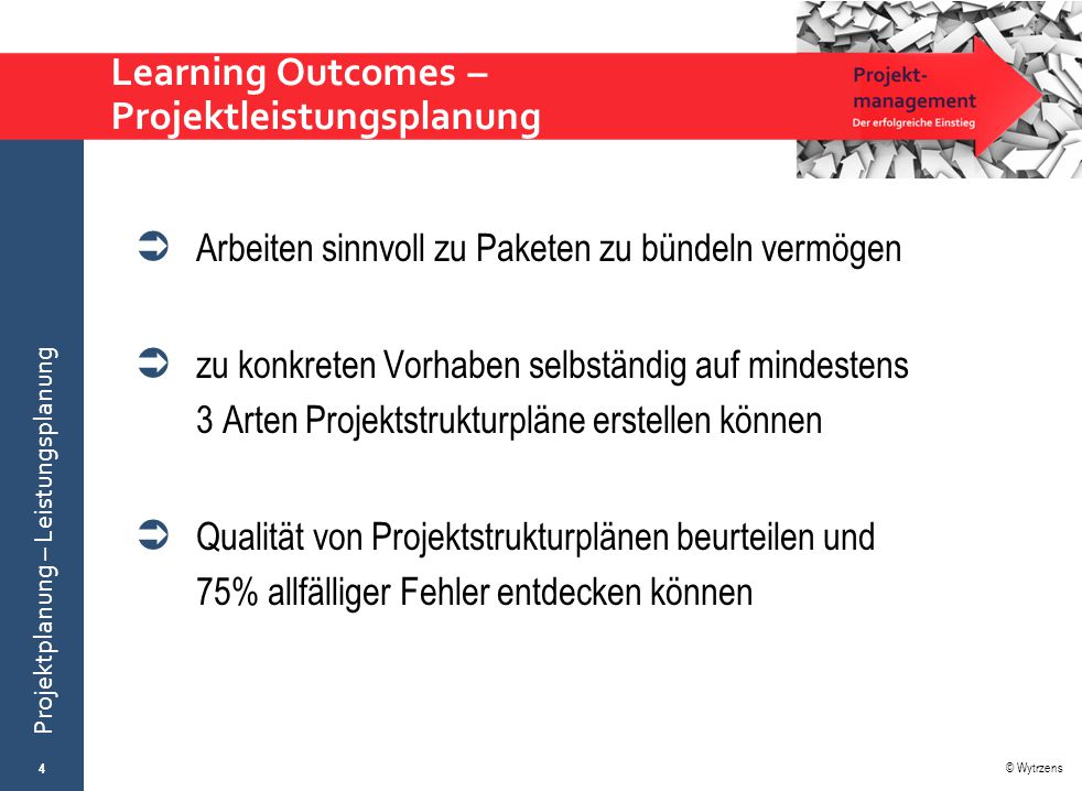 Learning Outcomes – Projektleistungsplanung