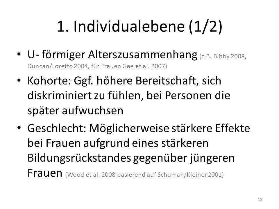1. Individualebene (1/2) U- förmiger Alterszusammenhang (z.B. Bibby 2008, Duncan/Loretto 2004, für Frauen Gee et al. 2007)