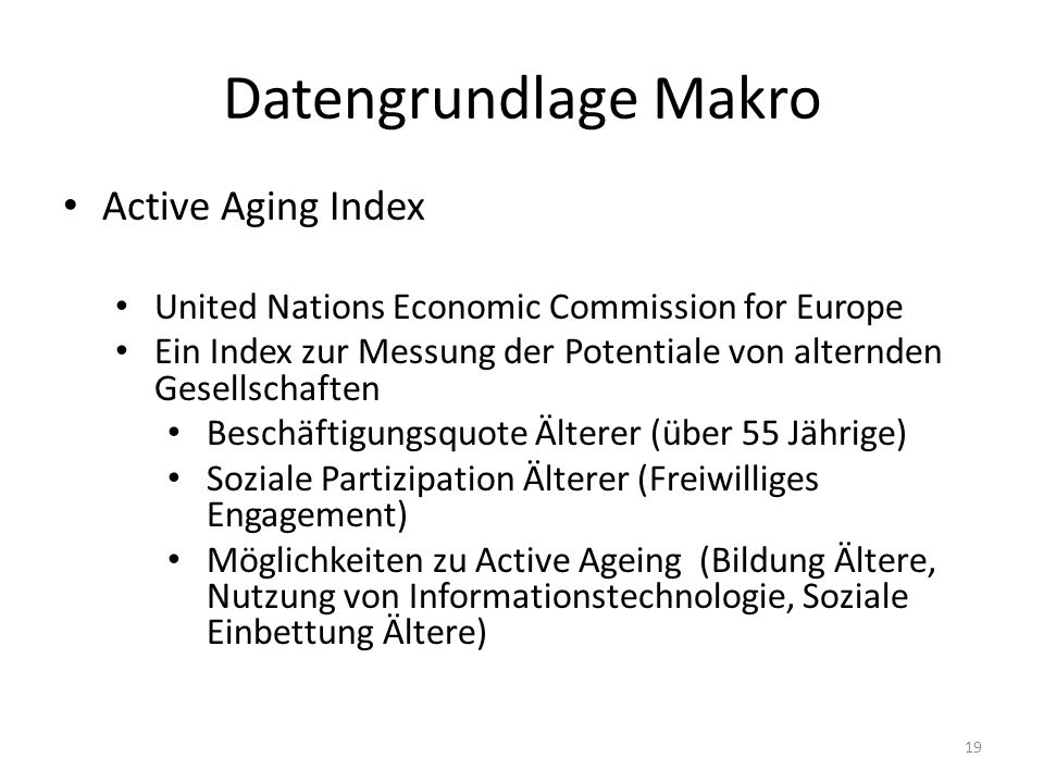 Datengrundlage Makro Active Aging Index