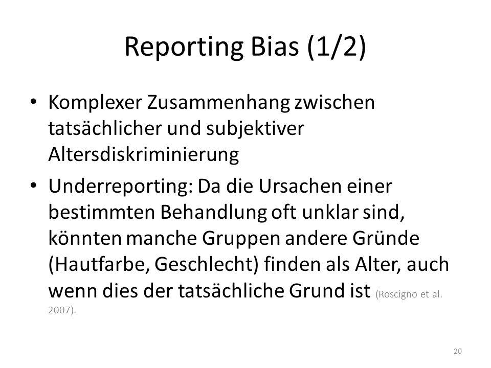 Reporting Bias (1/2) Komplexer Zusammenhang zwischen tatsächlicher und subjektiver Altersdiskriminierung.