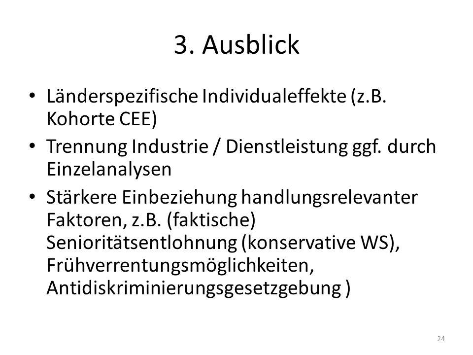 3. Ausblick Länderspezifische Individualeffekte (z.B. Kohorte CEE)