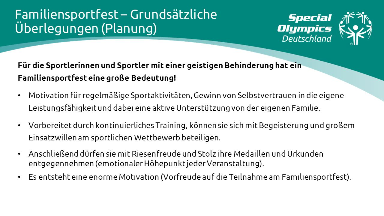 Familiensportfest – Grundsätzliche Überlegungen (Planung)