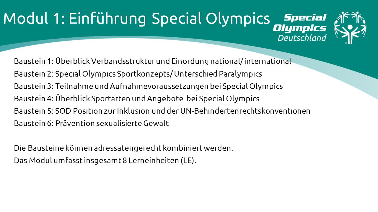 Modul 1: Einführung Special Olympics