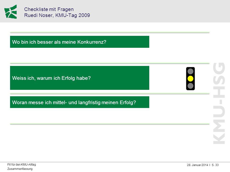 Checkliste mit Fragen Ruedi Noser, KMU-Tag 2009