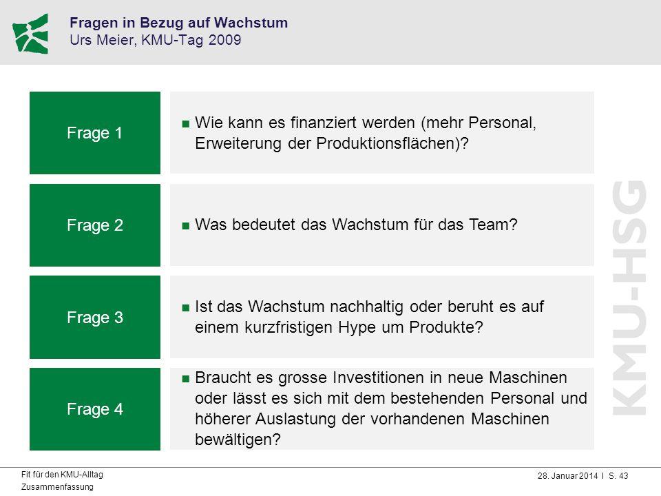 Fragen in Bezug auf Wachstum Urs Meier, KMU-Tag 2009