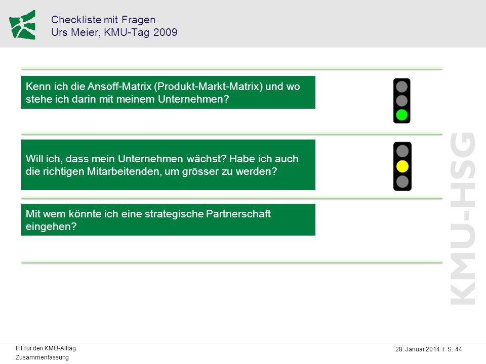 Checkliste mit Fragen Urs Meier, KMU-Tag 2009
