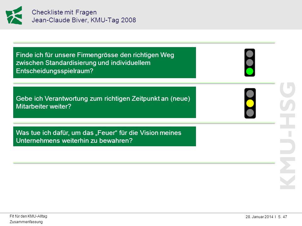 Checkliste mit Fragen Jean-Claude Biver, KMU-Tag 2008