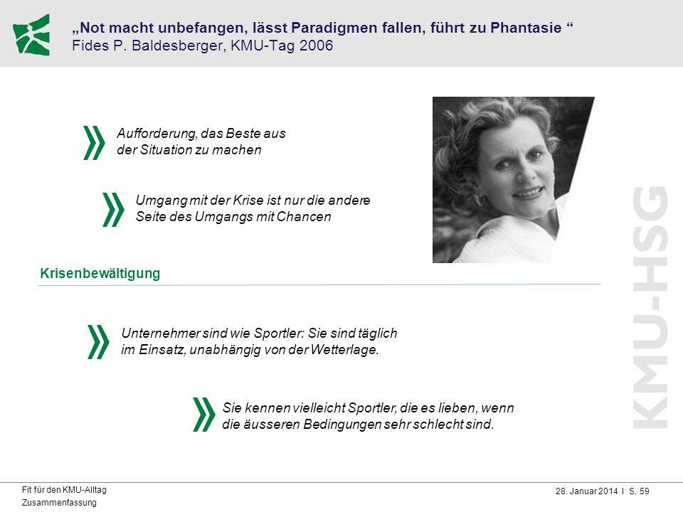 """""""Not macht unbefangen, lässt Paradigmen fallen, führt zu Phantasie Fides P. Baldesberger, KMU-Tag 2006"""