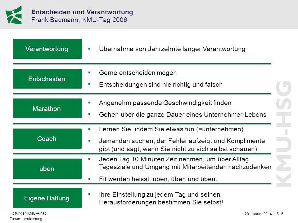 Entscheiden und Verantwortung Frank Baumann, KMU-Tag 2006