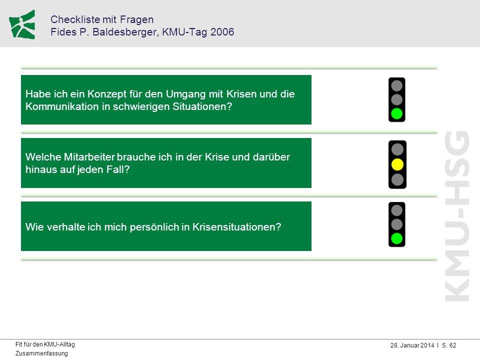 Checkliste mit Fragen Fides P. Baldesberger, KMU-Tag 2006