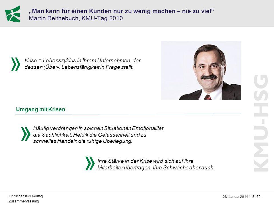 """""""Man kann für einen Kunden nur zu wenig machen – nie zu viel Martin Reithebuch, KMU-Tag 2010"""