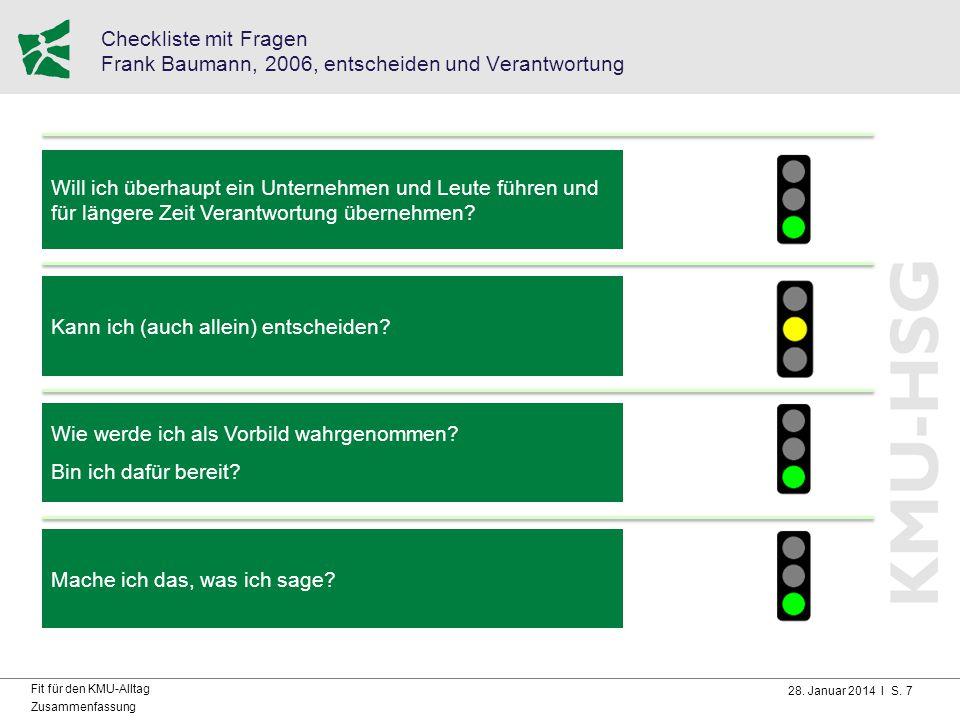 Checkliste mit Fragen Frank Baumann, 2006, entscheiden und Verantwortung