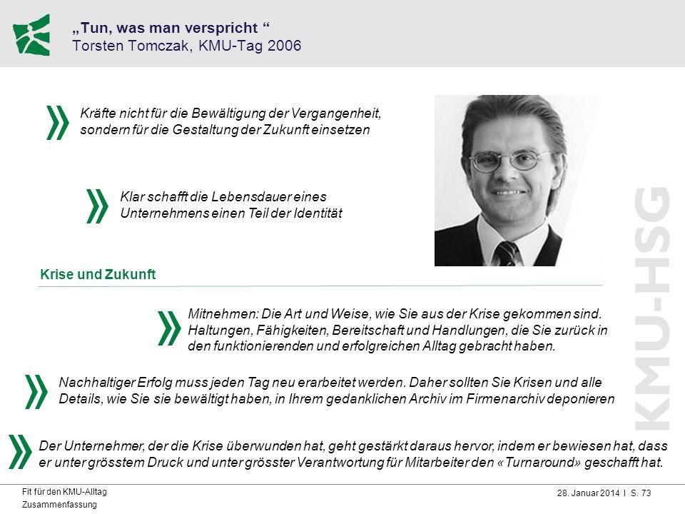 """""""Tun, was man verspricht Torsten Tomczak, KMU-Tag 2006"""