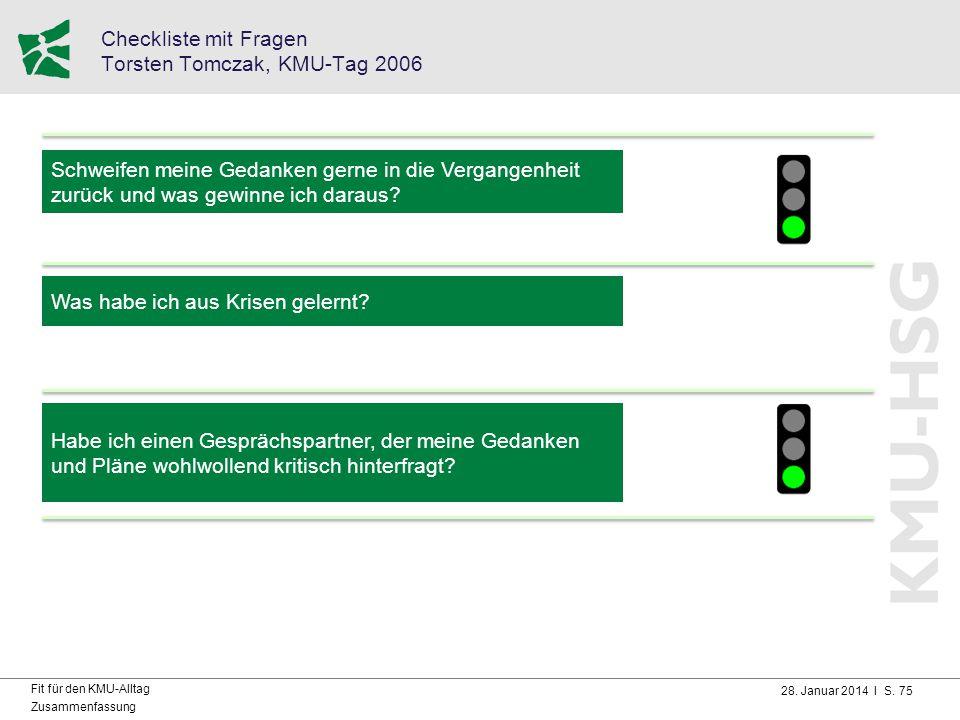 Checkliste mit Fragen Torsten Tomczak, KMU-Tag 2006