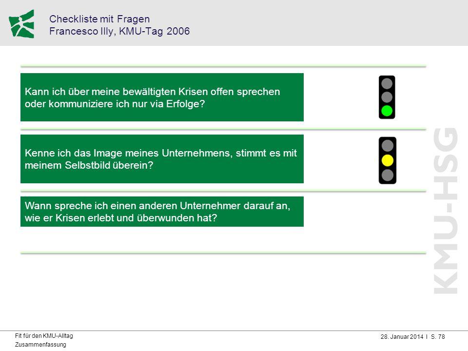 Checkliste mit Fragen Francesco Illy, KMU-Tag 2006