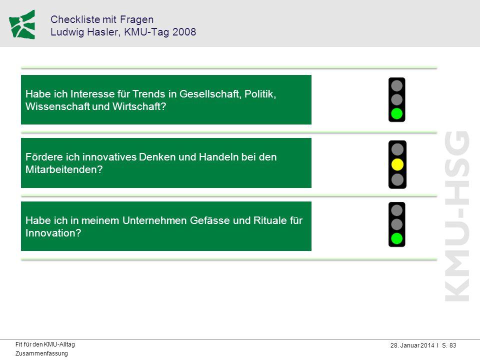Checkliste mit Fragen Ludwig Hasler, KMU-Tag 2008