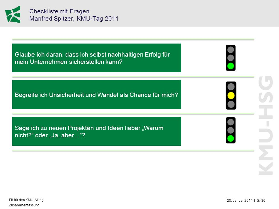 Checkliste mit Fragen Manfred Spitzer, KMU-Tag 2011