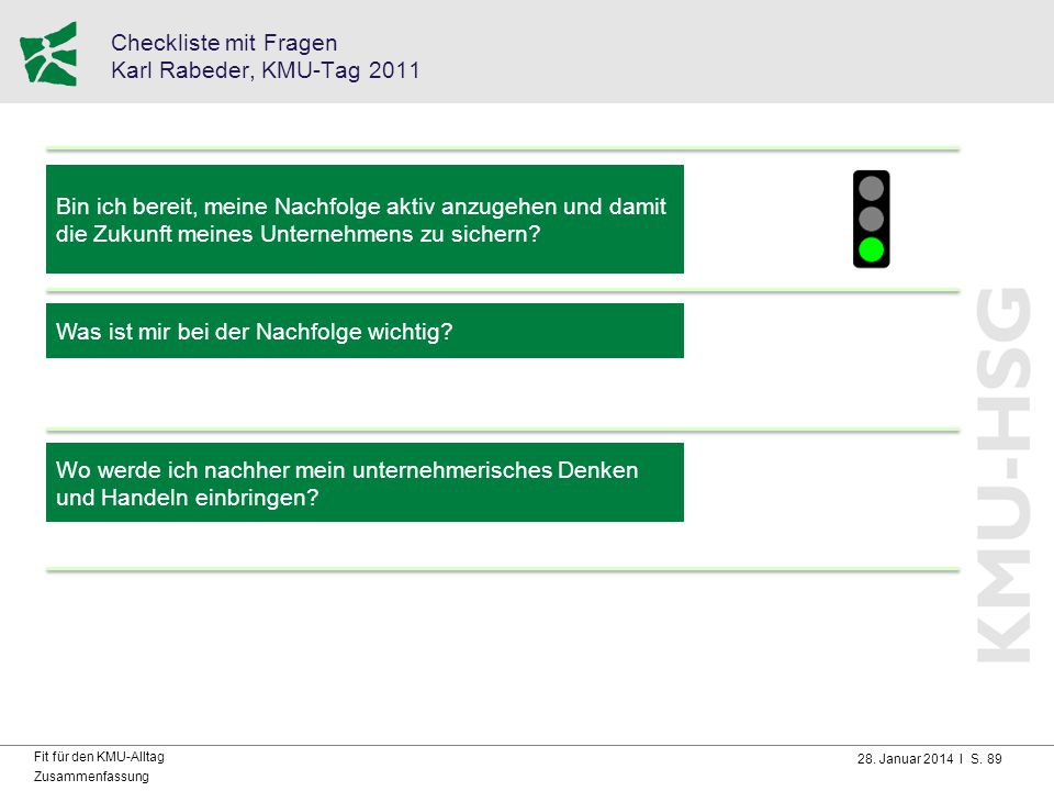 Checkliste mit Fragen Karl Rabeder, KMU-Tag 2011