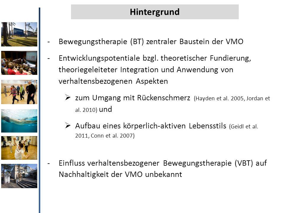 Hintergrund Bewegungstherapie (BT) zentraler Baustein der VMO