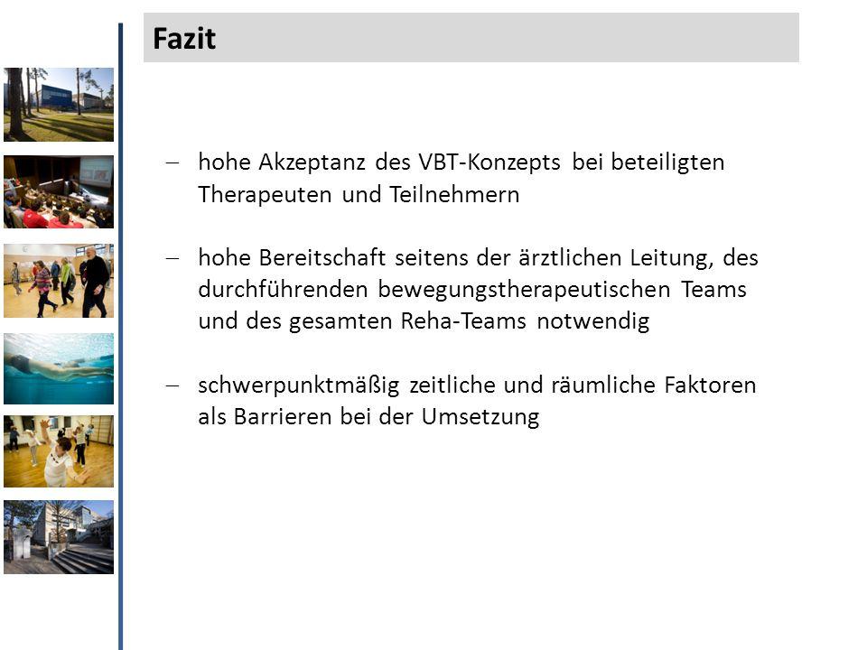 Fazit hohe Akzeptanz des VBT-Konzepts bei beteiligten Therapeuten und Teilnehmern.