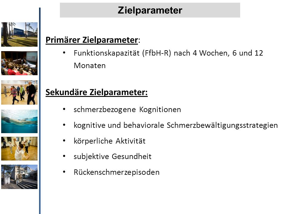 Zielparameter Primärer Zielparameter: Sekundäre Zielparameter: