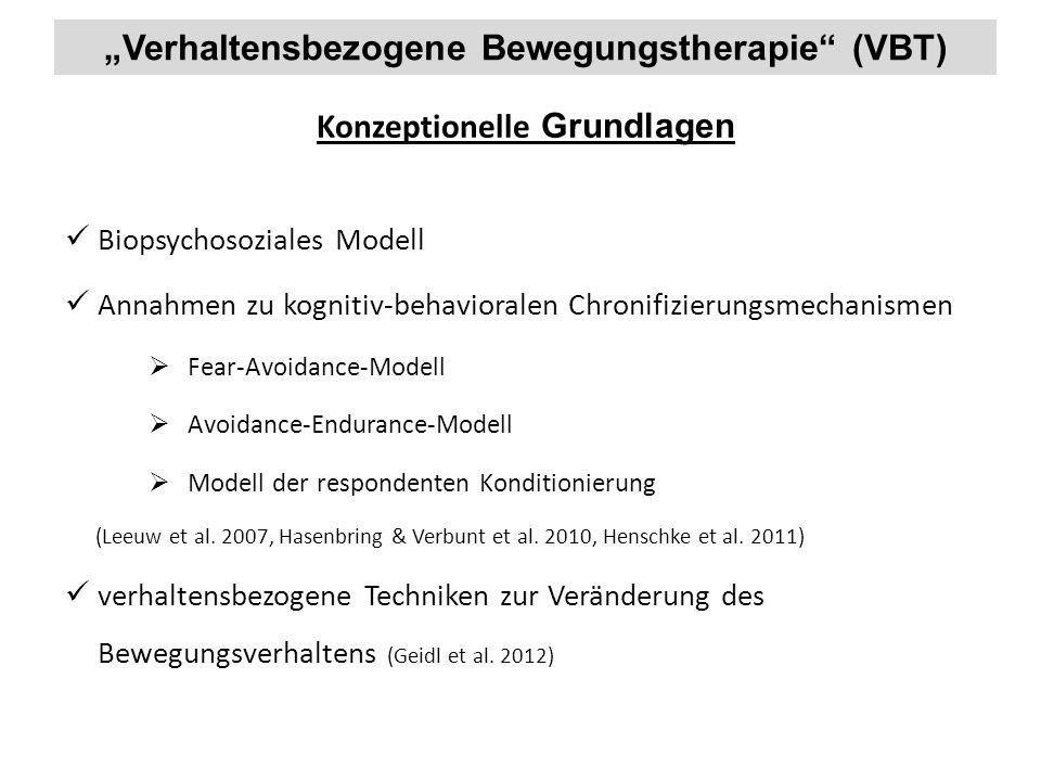 """""""Verhaltensbezogene Bewegungstherapie (VBT) Konzeptionelle Grundlagen"""