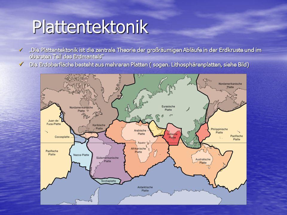 """Plattentektonik """"Die Plattentektonik ist die zentrale Theorie der großräumigen Abläufe in der Erdkruste und im obersten Teil des Erdmantels"""