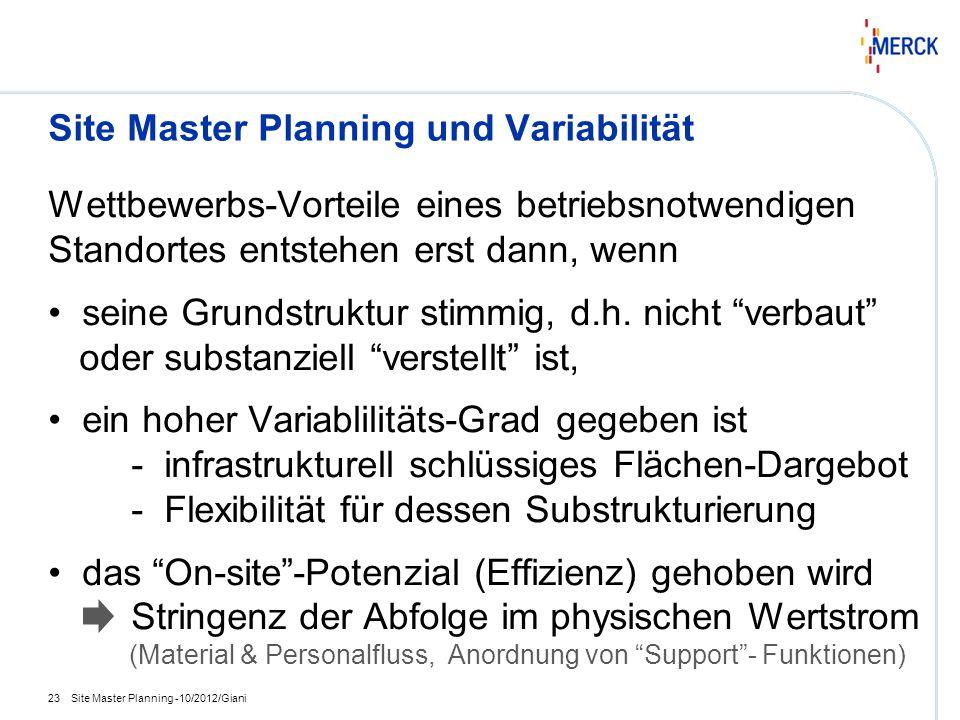 Site Master Planning und Variabilität