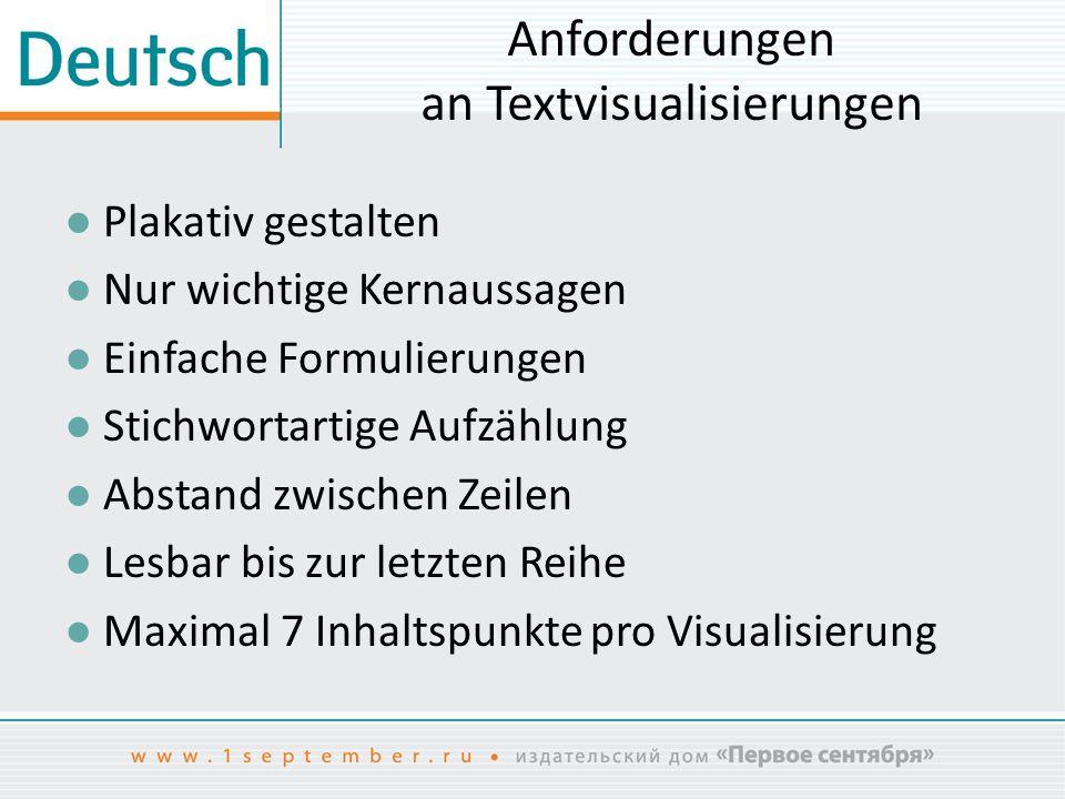 Anforderungen an Textvisualisierungen