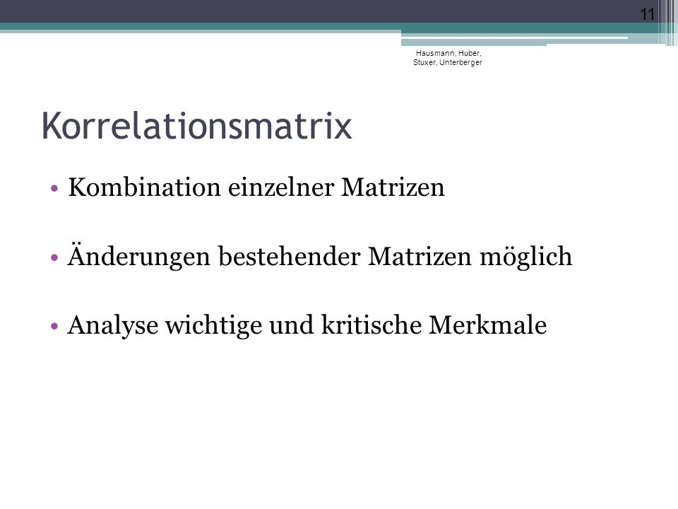 Korrelationsmatrix Kombination einzelner Matrizen