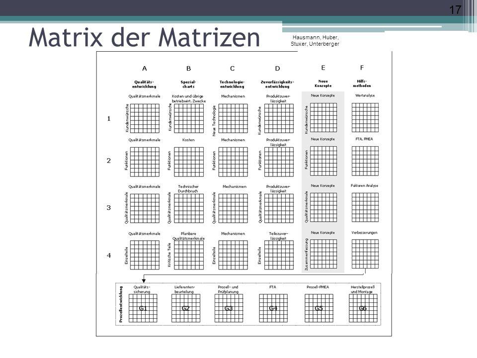 Matrix der Matrizen Hausmann, Huber, Stuxer, Unterberger