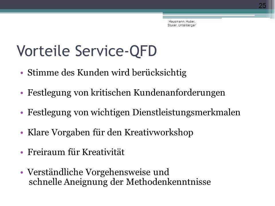 Vorteile Service-QFD Stimme des Kunden wird berücksichtig