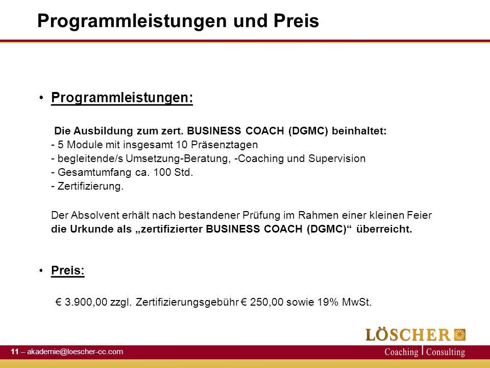 Programmleistungen und Preis