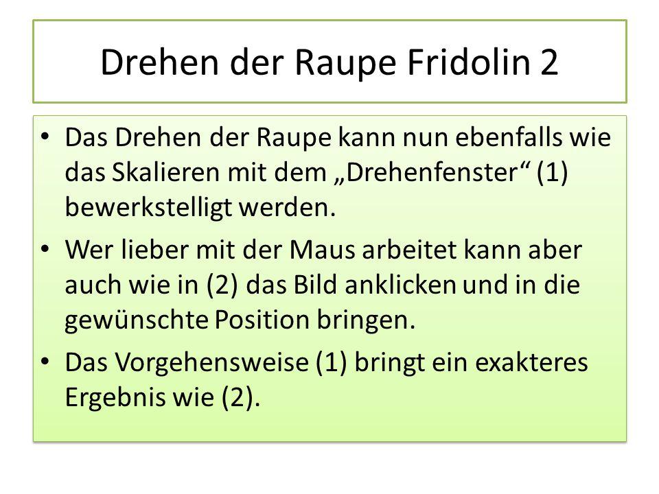 Drehen der Raupe Fridolin 2
