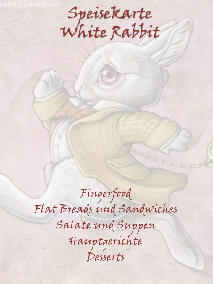 Speisekarte White Rabbit