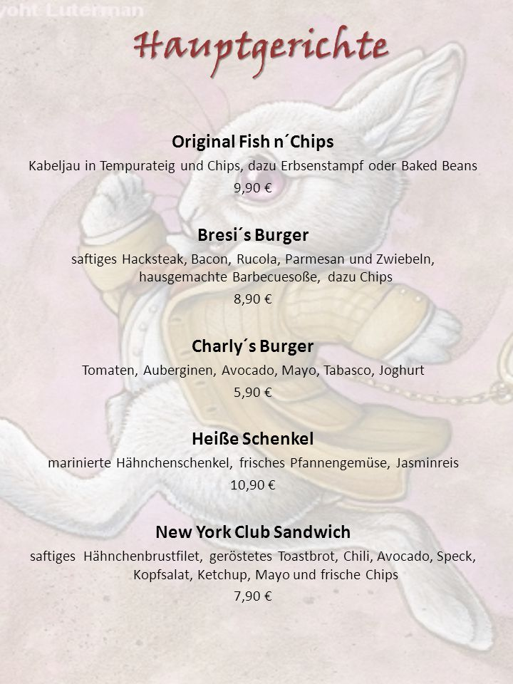 Hauptgerichte Original Fish n´Chips Bresi´s Burger Charly´s Burger