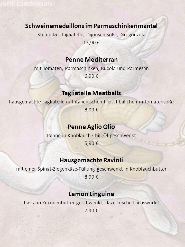 Schweinemedaillons im Parmaschinkenmantel Tagliatelle Meatballs