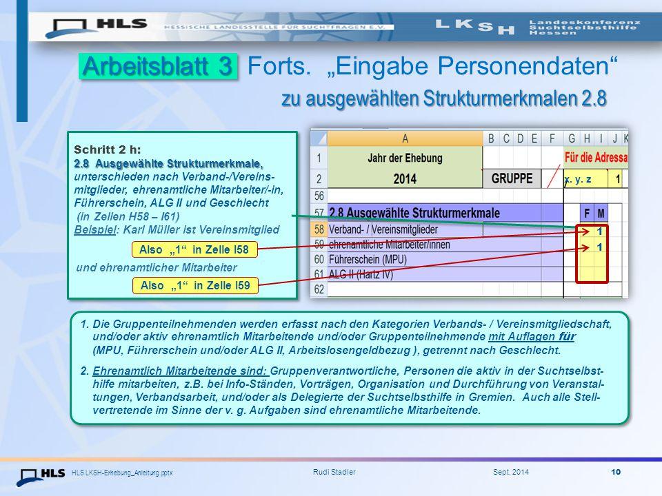 """Arbeitsblatt 3 Forts. """"Eingabe Personendaten zu ausgewählten Strukturmerkmalen 2.8"""
