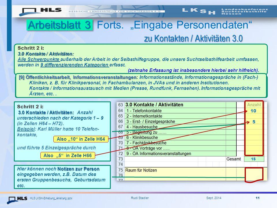 """Arbeitsblatt 3 Forts. """"Eingabe Personendaten zu Kontakten / Aktivitäten 3.0"""