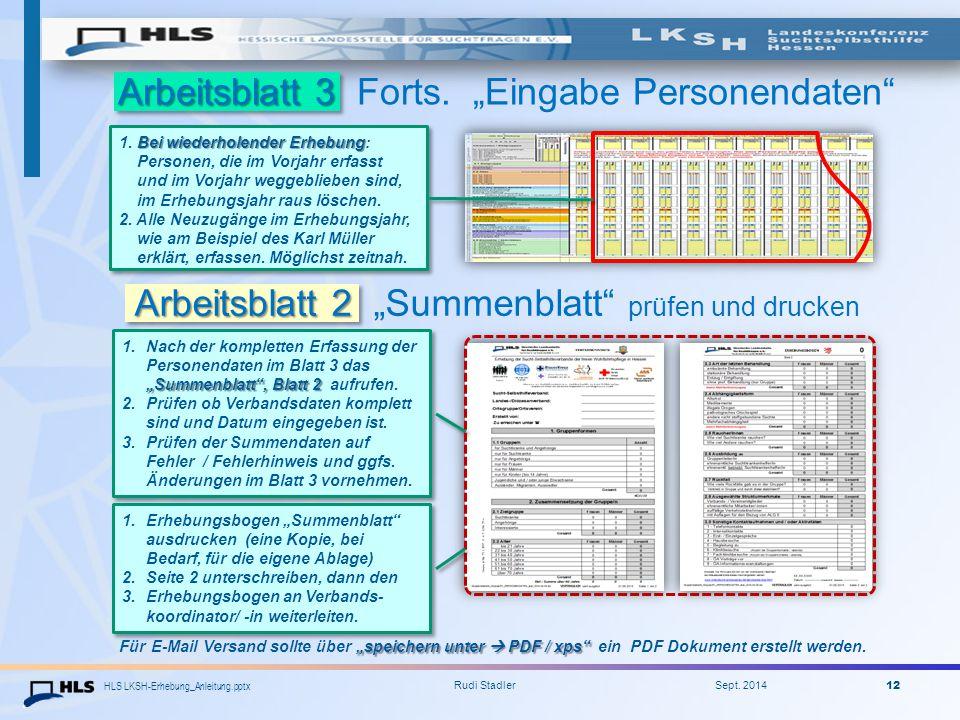 """Arbeitsblatt 3 Forts. """"Eingabe Personendaten"""