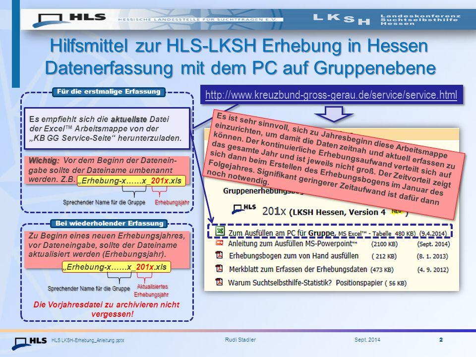 Hilfsmittel zur HLS-LKSH Erhebung in Hessen Datenerfassung mit dem PC auf Gruppenebene