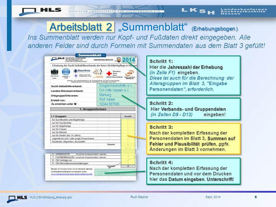 "Arbeitsblatt 2 ""Summenblatt (Erhebungsbogen )"