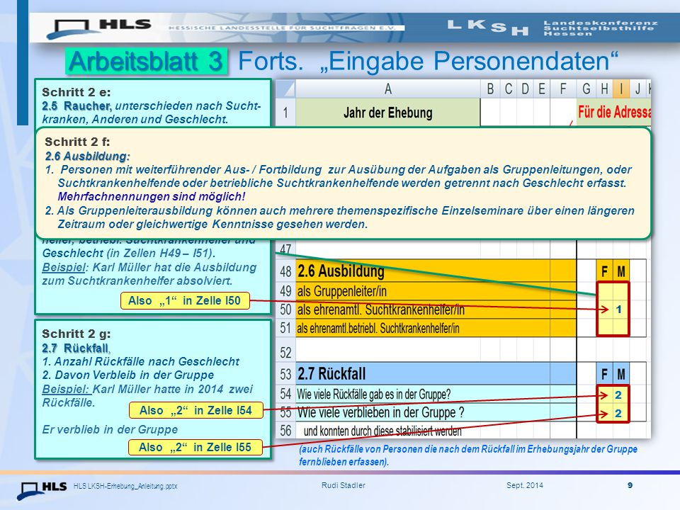 """Arbeitsblatt 3 Forts. """"Eingabe Personendaten - zum Rauchen 2"""