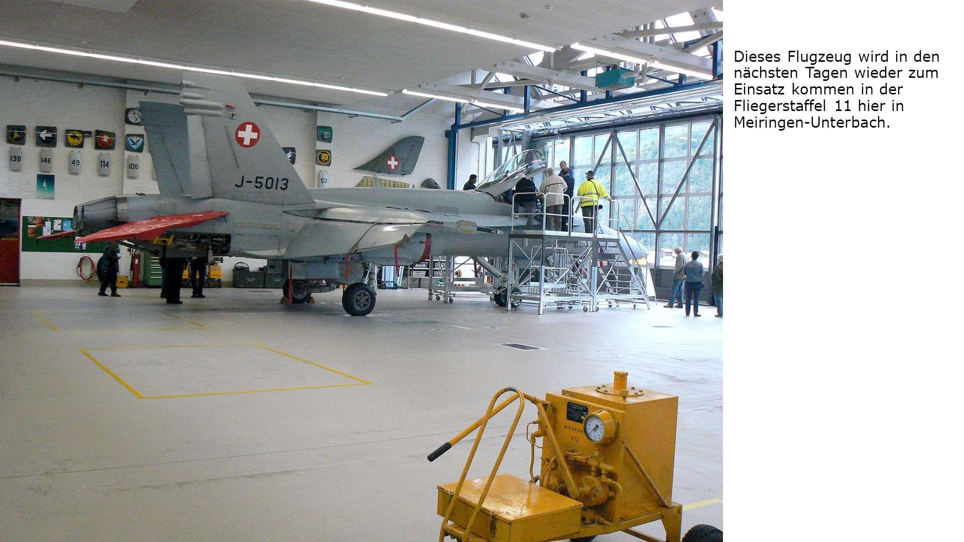 Dieses Flugzeug wird in den nächsten Tagen wieder zum Einsatz kommen in der Fliegerstaffel 11 hier in Meiringen-Unterbach.